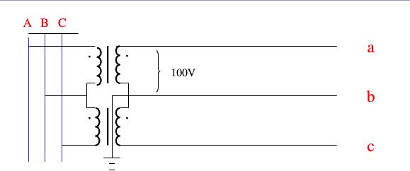 三相五线接法:三个电压互感器a端分别接a,b,c三相,x端短接接地,二次侧